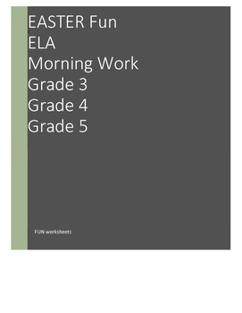 Easter ELA Morning Work - Grade 3, Grade 4, Grade 5