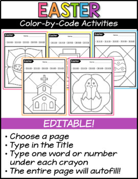 Easter Editable Color by Code