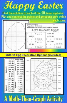 Easter Egg - 15 Systems - Coordinate Graphing with Egg Decorating Options