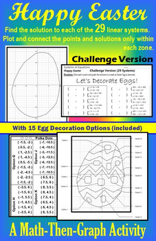 Easter Egg - 29 Systems - Coordinate Graphing with Egg Decorating Options