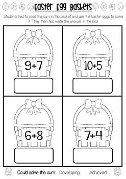 Easter Egg Addition Baskets Assessment - 3 versions