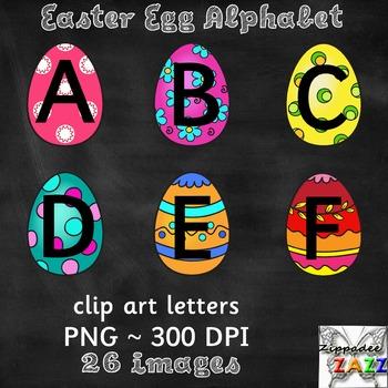 Easter Egg Uppercase Alphabet Clipart for Bulletin Boards