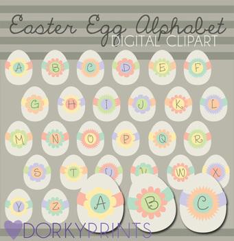 Easter Egg Alphabet Digital Clip Art