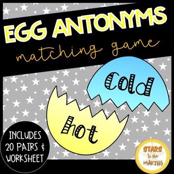 Easter Egg Antonyms Match (2o sets and worksheet)