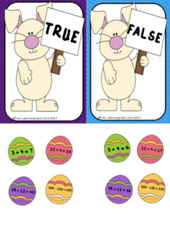 Easter Egg Bunny Themed Maths Facts True/False Hunt: Addition and Subtraction