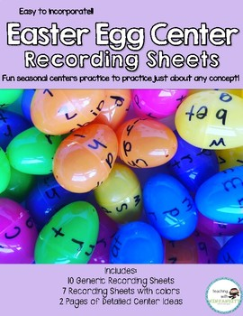 Easter Egg Center Recording Sheets