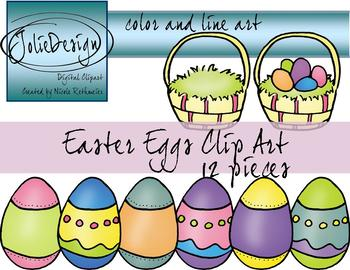 Easter Egg Clip Art - Color and Line Art 12 pc set