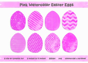Easter Egg Clip Art - Pink Watercolor Graphics {Commercial + Personal}