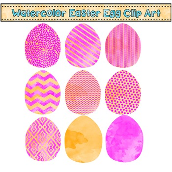 Easter Egg Clip Art - Pink and Orange Watercolors {Commerc