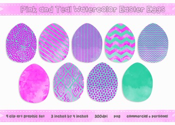 Easter Egg Clip Art - Pink and Teal Watercolors {Commercial + Personal}