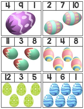 Easter Egg Clip Cards | Numbers 1-12