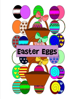 Easter Eggs Clip Art - 43 pieces - black line included