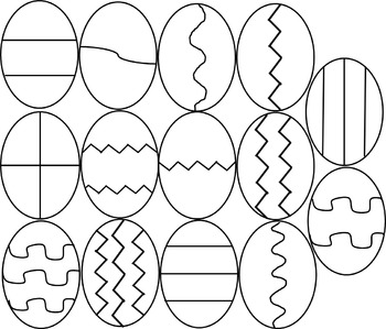 Easter Egg Clipart- Black & White