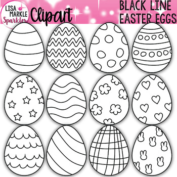 Easter Egg Clipart Black And White Tpt
