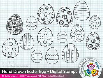 Easter Egg Clipart   Digital Stamps   Hand Drawn Digital Drawings