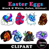 Easter Egg Clipart (Fantasy!) - Black & White, Color, Glitter!