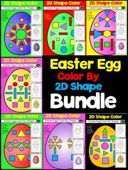 Easter Egg Color By 2D Shape Bundle