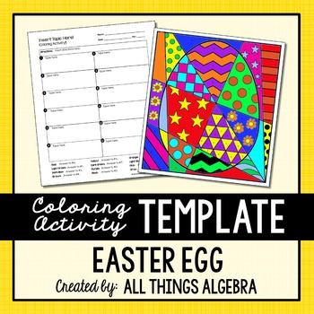Coloring Activity Template: Easter Egg (Personal Use Only)