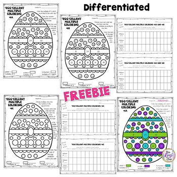 Easter Math Egg Coloring Math Art Multiples and Common Multiples {FREEBIE}