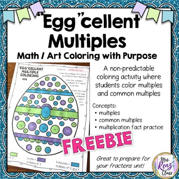 Easter Math Egg Coloring Math Art Multiples and Common Mul