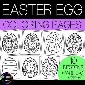 Easter Egg Coloring Pages And Writing Paper Made By Creative Clips
