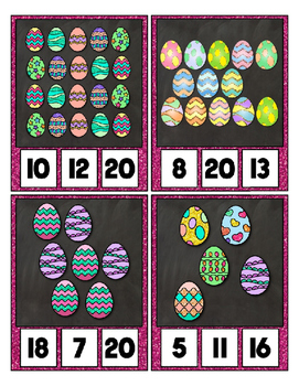 Easter Egg Counting Clip Cards Math Center ~ They Sparkle ~ Counting to 20