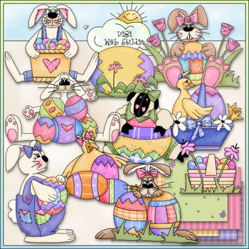 Easter Egg Cuties Clip Art - Easter Clip Art - Easter Bunny - CU Clip Art & B&W