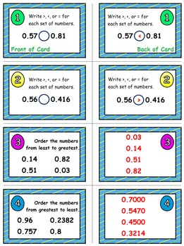Easter Egg Dash & Smash Game Cards (Compare & Order Decimals) Sets 4-5-6