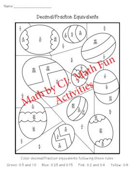 Easter Egg Decimal/Fraction Color Sheet