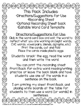 Easter Egg Editable Word Study Center FREEBIE