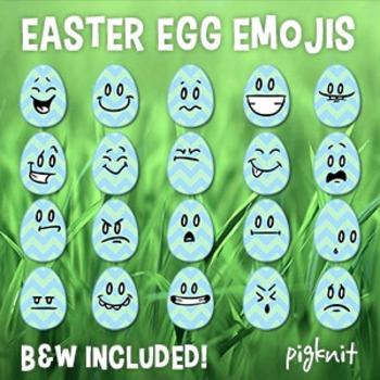 Easter Egg Emoji Clip Art    20 Facial Expressions on Simple Chevron Egg Shapes!