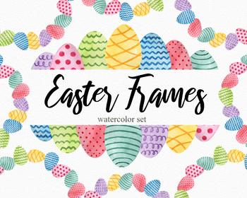 Easter Egg Frames Clipart Set Watercolor
