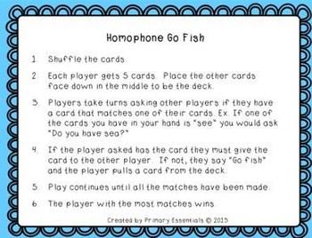 Easter Egg Homophone Concentration & Go Fish {Freebie}