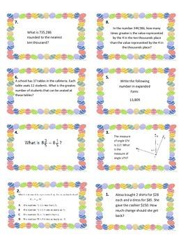 Easter Egg Hunt 4th Grade Math Review