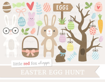 Easter Egg Hunt Clipart; Bunny, Tree, Chocolate, Candy