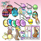 Easter Egg Hunt & Create-a-Basket BW/Color Clip-Art! 100 Pieces!