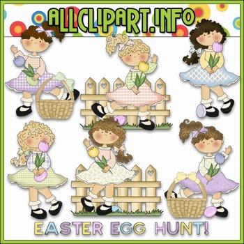 Easter Egg Hunt Girls Clip Art - Cheryl Seslar Clip Art