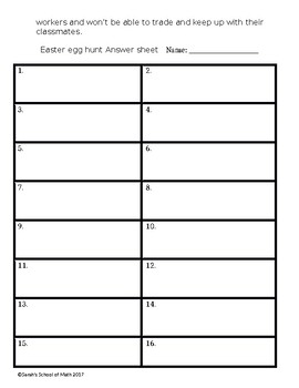 Easter Egg Hunt Math Activity Template (Word Doc): can be used with any topic!