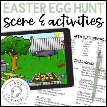 Easter Egg Hunt Scene and Activities (No Print Required)