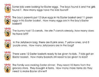 Easter Egg Hunt Story Problems