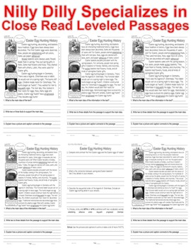 Easter Bunny Eggs Baskets Close Read 5 Level Passages Differentiated PRINT-N-GO