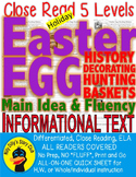 Easter Bunny Eggs Baskets CLOSE READ 5 LEVELED PASSAGES Main Idea Fluency TDQs!