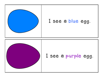 Easter - Egg - I see... Color Words - Pocket Chart Printables 11 colors!