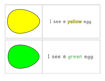 Easter - Egg - I see... Color Words - Pocket Chart Printables 11 colors!
