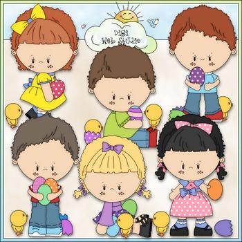 Easter Egg Kids Clip Art - Easter Clip Art - Easter Kids - CU Clip Art & B&W