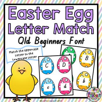 Easter Egg Letter Match QLD Beginners Font