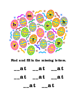 Easter Egg Letters AT Rhyming Hunt Spelling Reading Tools