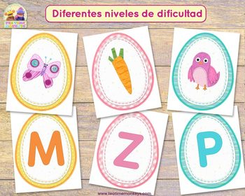 Easter Egg Match in SPANISH: Abecedario y Sonidos de Letras