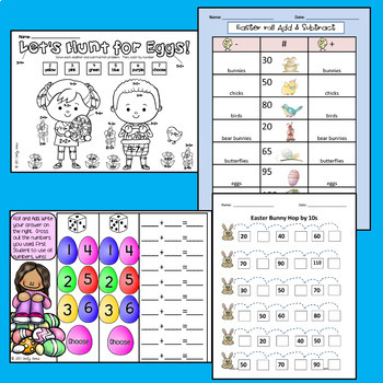 Easter Egg Math Hunt Packet (addition place value subtraction skip counting)