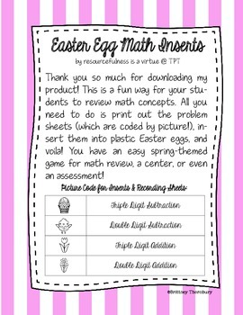 Easter Egg Math Inserts